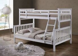 70% OFF:: BRAND NEW!! CHEAPEST PRICE EVER WHITE AND WOODEN TRIO SLEEPER BUNK BED!! STARTING FROM