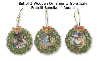 Holy Family / Nativity Ornament Set of 3, Wood, Made In Italy Wreath Design (Holy Family Wreath)