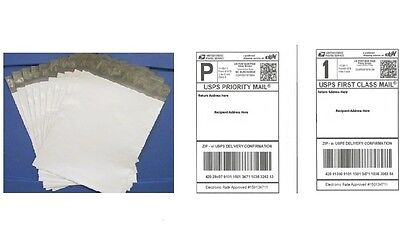 100 6 X 9 Poly Mailers 100 Blank Shipping Labels Combo Usps Ups - 200 White