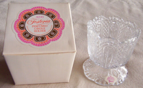 "Vintage 1973 Avon ""FOSTORIA GLASS"" Perfumed Candle Holder - White Box - NEW!"