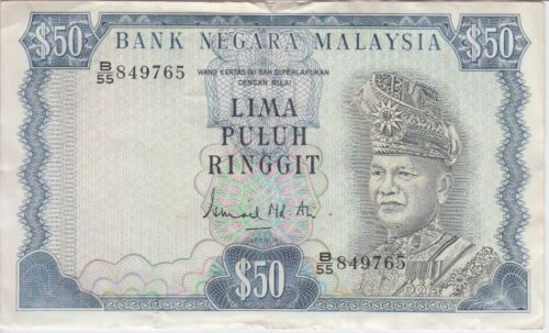 Malaysia Banknote P16-9765 50 Ringgit, BWC, tear at top center, VF