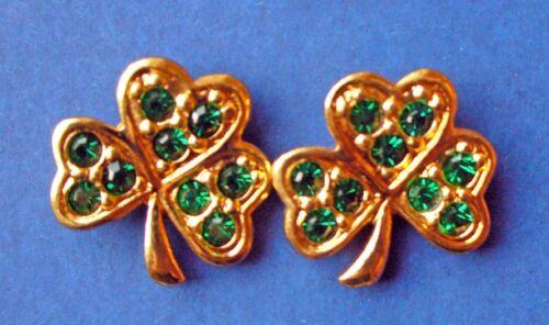 Avon EARRINGS St Patrick Vintage SHAMROCKS Rhinestone LUCKY Holiday Jewelry