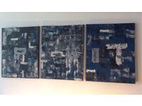 Abstract Wall Art; True Blue An Original Canvas Set of 3 50 x 30cm Hand Painted Acrylic