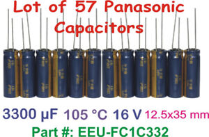 Lot of 57 3300uF 12.5x35mm Radial Panasonic Capacitors 5000 Hrs