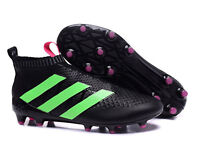 ADIDAS ACE 16+ PURECONTROL FIRM GROUND/AG BLACK/GREEN/SOLAR PINK FOOTBALL BOOTS - UK 10.5