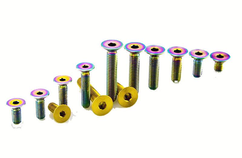 6pcs M5 x10//12//15//20//30//40mm Titanium Socket Head Cap Screws Flat Head Bolt