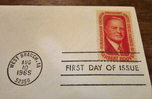 1965 Herbert Hoover 5 Cent First Day Cover Kitchener / Waterloo Kitchener Area image 3