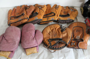 Old Leather Baseball Glove and Spalding Boxing Gloves Vintage