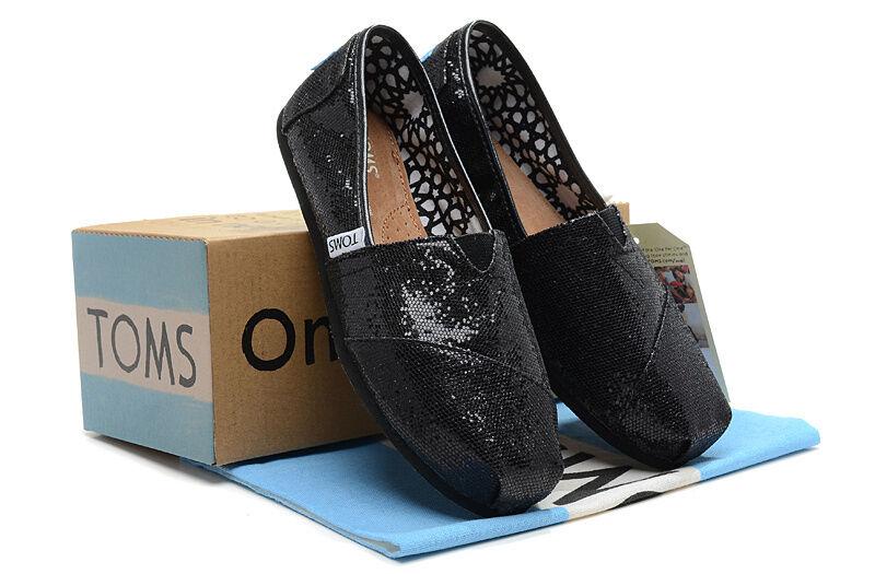 $36.99 - New Authentic Women Black Glitter Toms Shoes