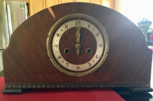 Antique wood pendulum mantle clock