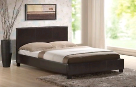 Dark brown faux leather small double bed frame brand new boxed