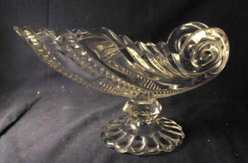 Antique pattern celery dish Ohara glass company footed compote