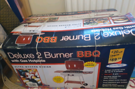 Delux 2 Burner BBQ with gas plate