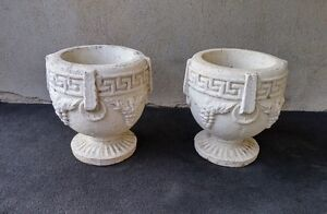 Set of Two Concrete Planters; Greek Style Urn, Very Heavy
