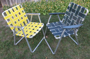 VINTAGE PAIR of 1950's 60's PATIO OUTDOOR LAWN CHAIRS very cool