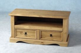 New Solid Corona Mexican pine wide 2 drawer TV cabinet in stock £89 available today