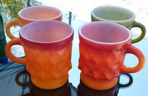 3 VINTAGE ANCHOR HOCKING GLASS FIRE KING KIMBERLY MILK GLASS MUG