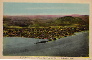 Old unused RCAF aerial postcard of Campbellton, NB - from 1930s