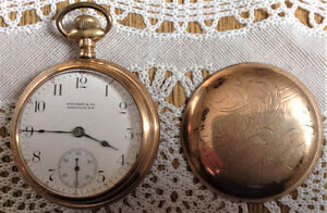 SACKVILLE NB, ELGIN 17 JEWEL GOLD FILLED POCKET WATCH (RARE)