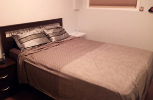 Queen size bed - mattress, box spring and headboard