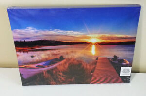 NEW LED canvas rising sun lake dock photo picture still sealed