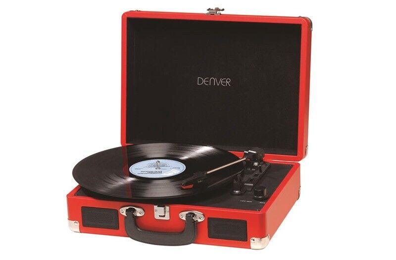 Denver Vpl-120 Red 3 Speed Vinyl Record Player.