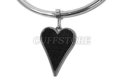 Black Beaded Heart Pendant For Bondage Collar Eternity Round Neck Restraints