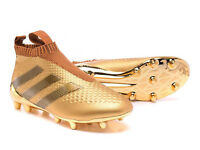 CHILDRENS KIDS ADIDAS ACE 16+ PURECONTROL FIRM GROUND/AG GOLD FOOTBALL BOOTS - UK SIZE 3.5