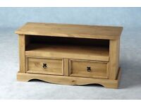 New Solid Corona Mexican pine wide 2 drawer TV cabinet in stock £89