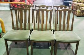 G Plan dark wood dining chairs x 6 vintage
