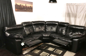 """"""""""" New ex display Dfs black real leather Recliners corner sofa"""