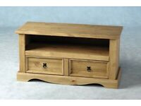 AVAILABLE NOW New Solid Corona Mexican Pine TV unit 2 drawer £99 W108xD44xH55cm