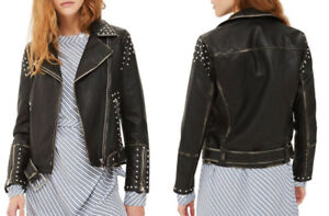 BNWT Studded Vegan Leather Jacket (Size 4)