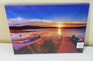 NEW LED canvas rising sun lake photo picture still sealed