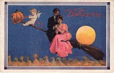 BERNHARDT WALL, PUBL. ULLMAN, SERIES 182, #2763 COUPLE RIDING ON BROOM JOL - Couples On Halloween
