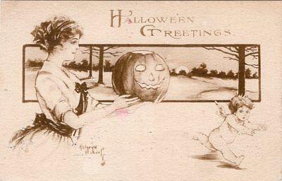 ARTIST SIGNED, KATHRYN ELLIOT, B&W, PUBLISHER GIBSON ART Co. RUNNING CUPID](Elliot Halloween)