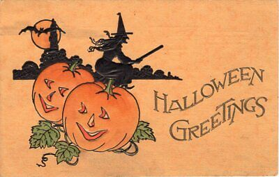 HALLOWEEN POSTCARD, GIBSON ART Co., TWO JOLs, SILHOUETTE OF WITCH ON BROOM.