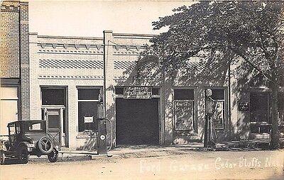 Cedar Bluffs NE Ford Dealership Gas Pumps RPPC Postcard
