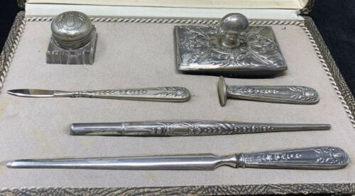 Antique Sterling Silver Desk Set in Fitted Box from Argentina circa 1900