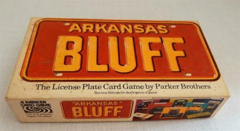 Vintage ARKANSAS BLUFF License Plate Car Tag Card Game 1975 Parker Bros Complete