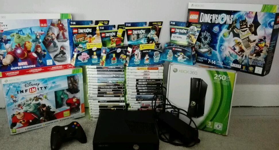 Xbox 360 250gb Controller With 40 Top Games Lego