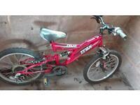 Boys red mountain bike.