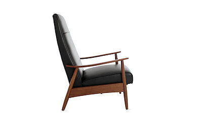 Milo Baughman Recliner 74 In Black Leather Modern Dwr Design Within Reach