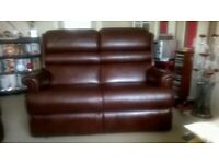 Leather 2 seater sofa + 2 x armchairs