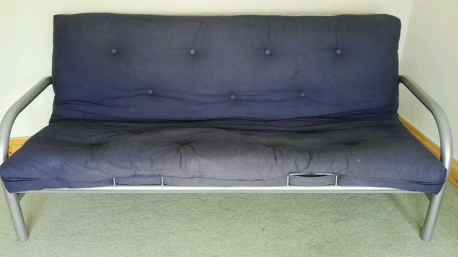 Futon Sofa Bed Metal Frame Navy