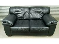 For sale black 2 seater leather sofa