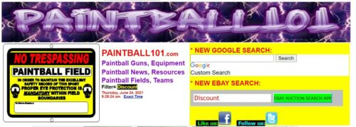 PAINTBALL101.COM  Great Paintball Domain name+ monetized website!  MUCH TRAFFIC!