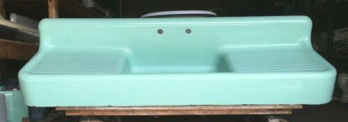"Antique 80"" Cast Iron Ming Jadeite Green Porcelain Kitchen Farm Sink Vtg 52-19E"