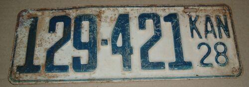 1928 Kansas License Plate 129-421 Car Tag