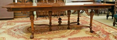 "Antique European Dining Table  Carved Legs Stretcher Inlaid Top 100"" x  42"""